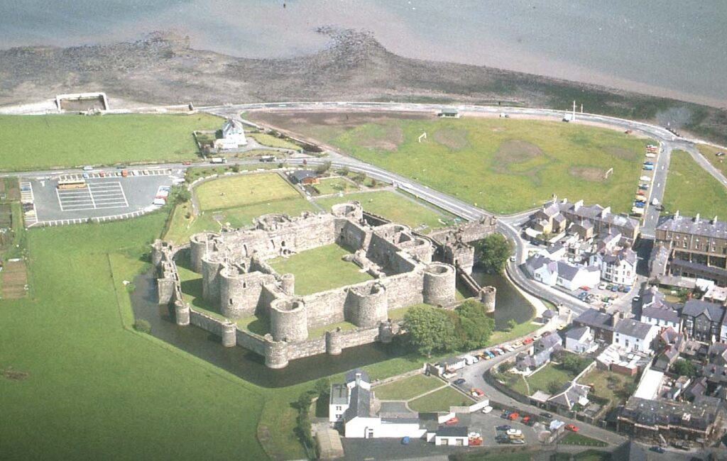 aerial view of Beaumaris castle  and town