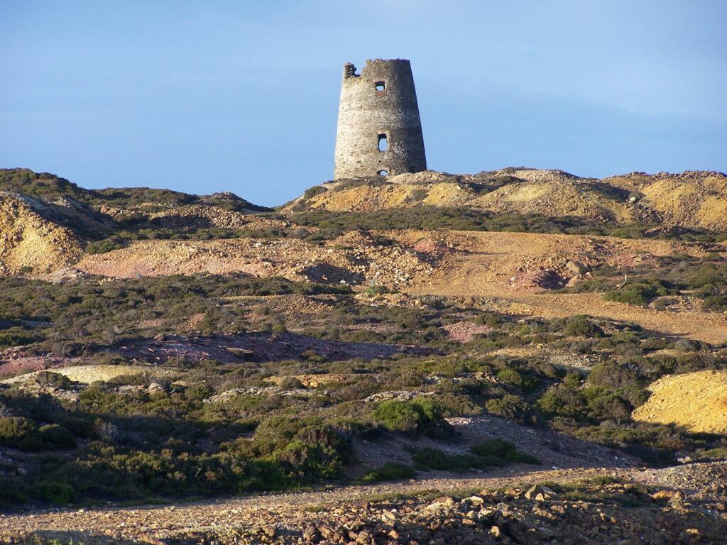 Windmill on summit originally powered a pumping engine[J Conway]