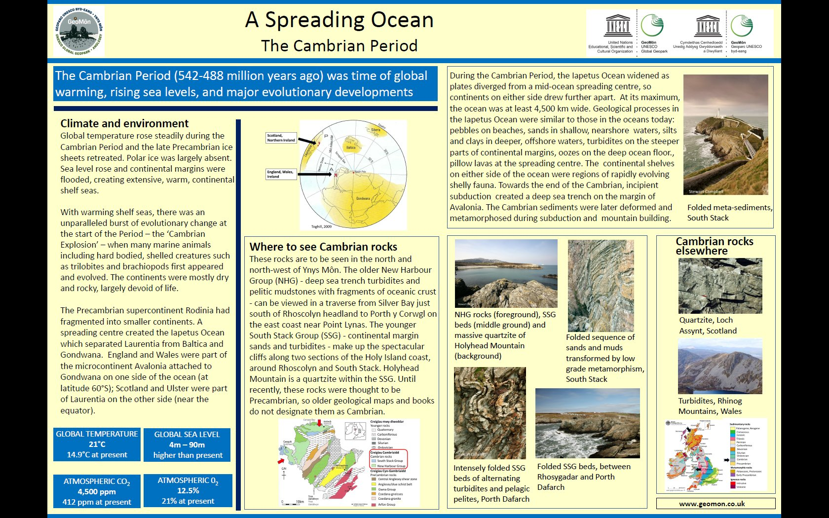 Poster showing geological conditions and climate in Cambrian times