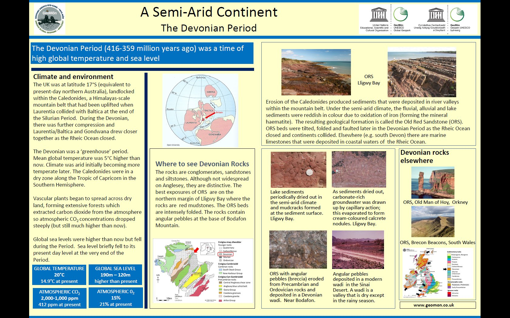 Poster showing geological conditions and climate in Devonian times