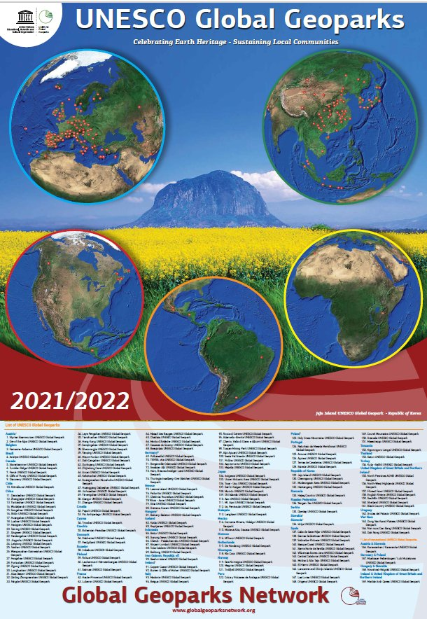 map of global geoparks 2021