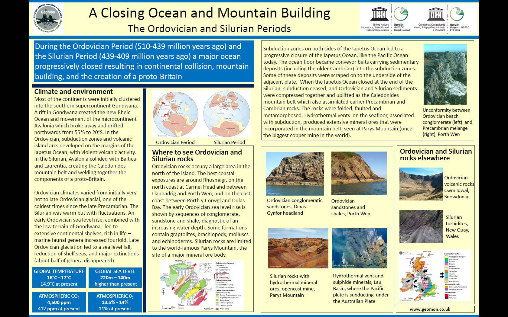Poster showing geological conditions and climate in Ordovician and Silurian times