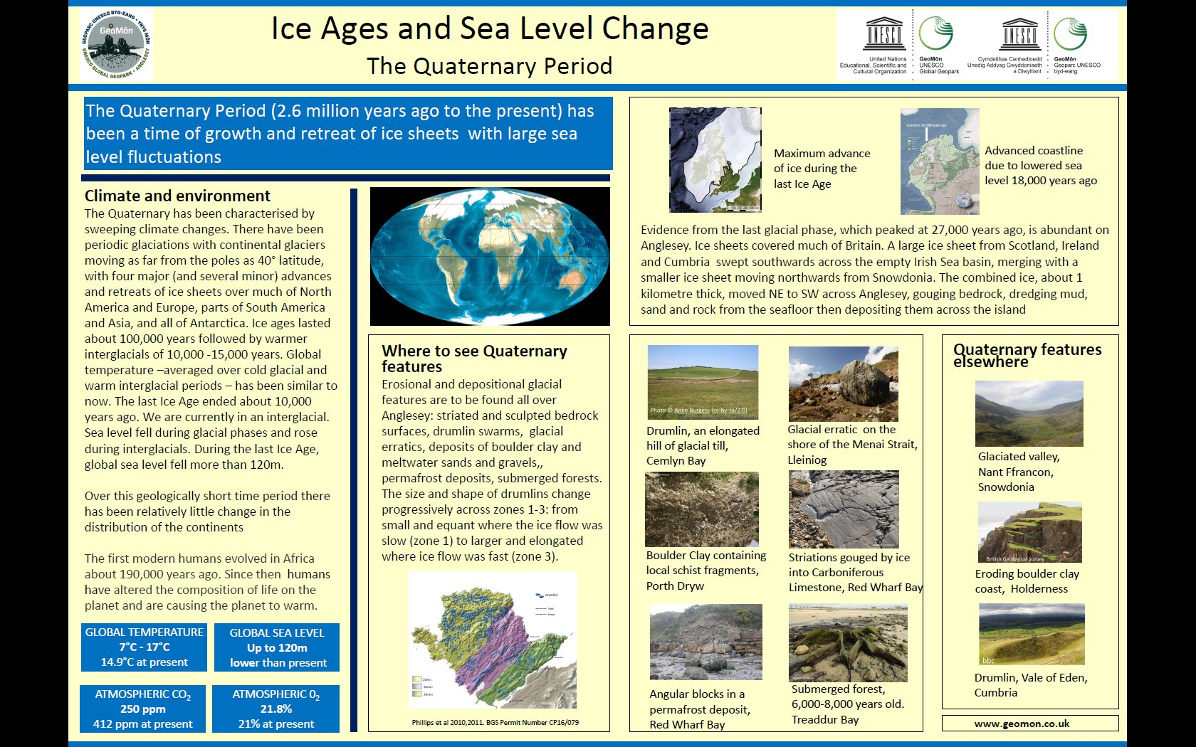 Poster showing geological conditions and climate in Quaternary times