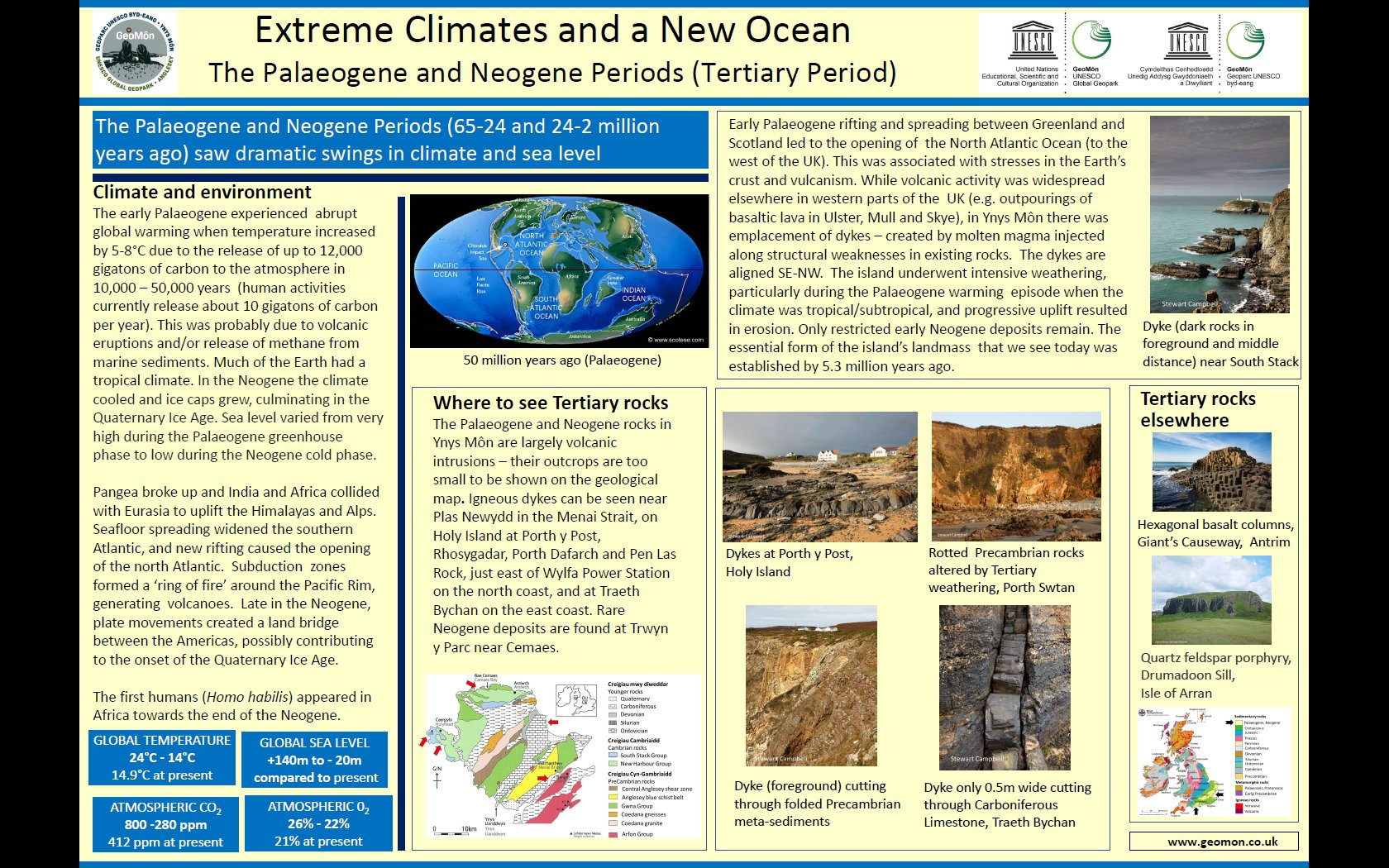 Poster showing geological conditions and climate in Tertiary times